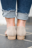 shoes, booties, taupe, slip on