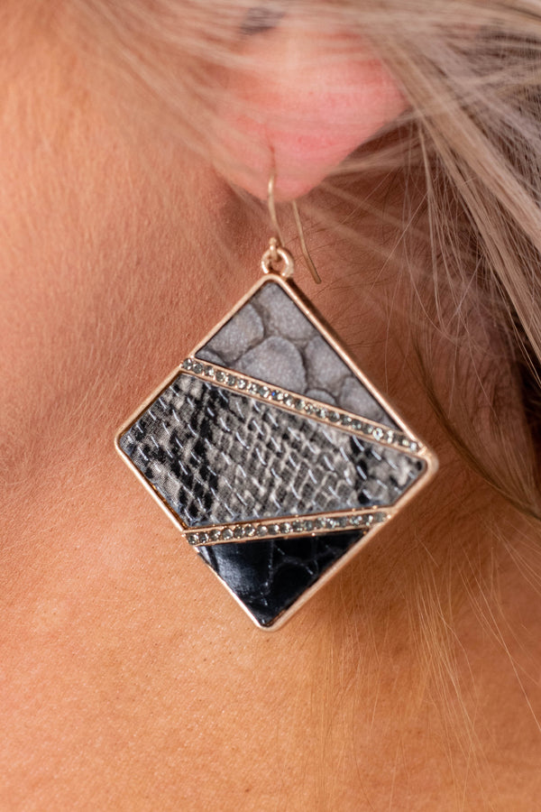 earrings, dangly, square pendent, gray, black, gold accents, snakeskin, geometric, edgy