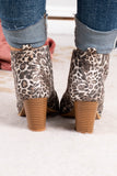 booties, medium heel, v cut out front, brown, tan, black, leopard