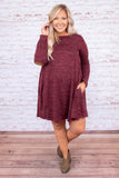 dress, short, long sleeve, elbow patches, burgundy, solid, flowy, comfy