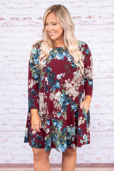 dress, short, three quarter sleeve, burgundy, blue, white, green, floral, flowy, comfy, fall, winter