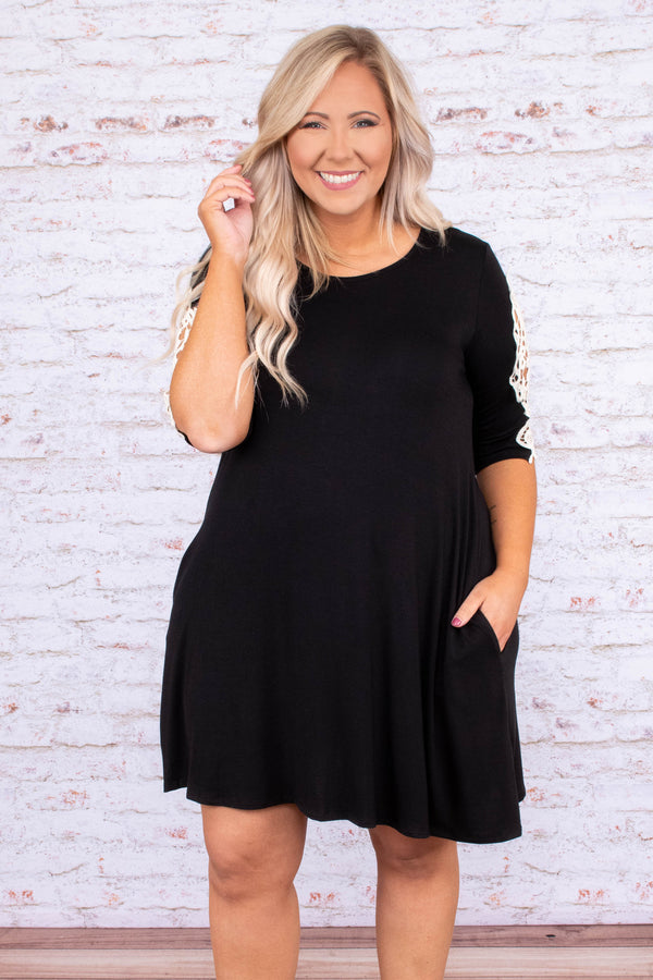 dress, short, short sleeve, lace sleeve detail, black, solid, pockets, flowy, comfy