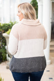 sweater, long sleeve, turtle neck, khaki, white, gray, colorblock, knitted, fitted, comfy, fall, winter