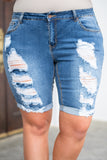 shorts, above knee, blue, distressed, ripped, cuffed
