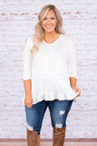 shirt, three quarter sleeves, vneck, ruffle hem, criss cross back, white, solid, comfy, longer back, loose