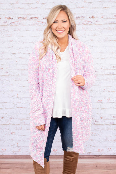 cardigan, long sleeve, long, pink, speckled, fuzzy, soft, comfy, outerwear