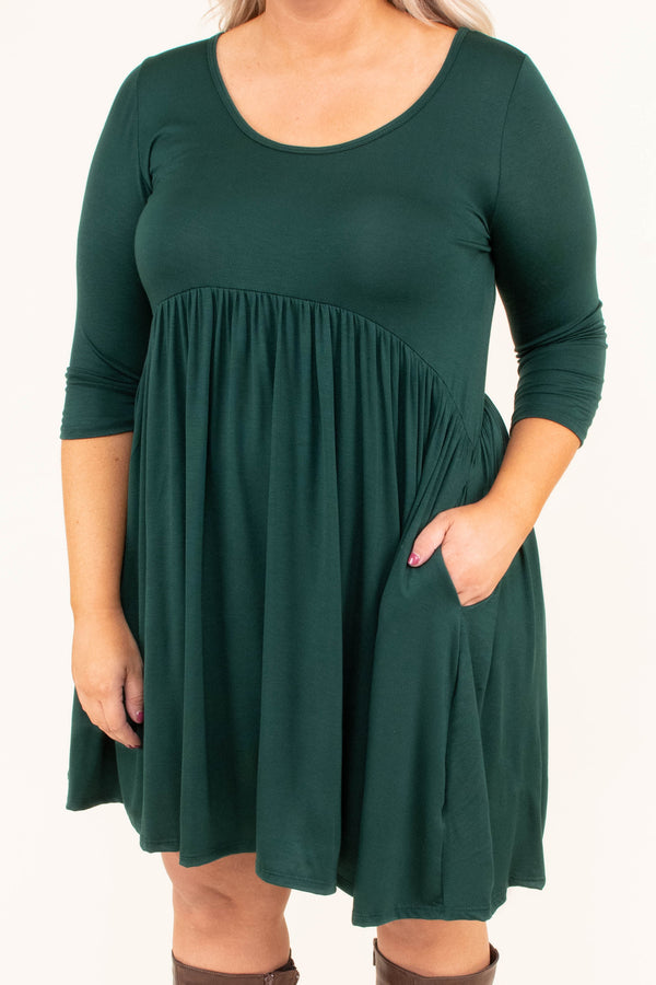 dress, short, three quarter sleeves, babydoll, pockets, scoop neck, hunter green, solid, flowy, comfy