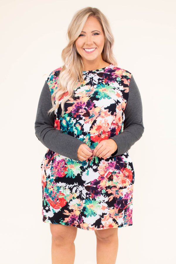 dress, short, long sleeve, elbow patches, pockets, gray sleeves, multicolored floral body, flowy, comfy, fall, winter