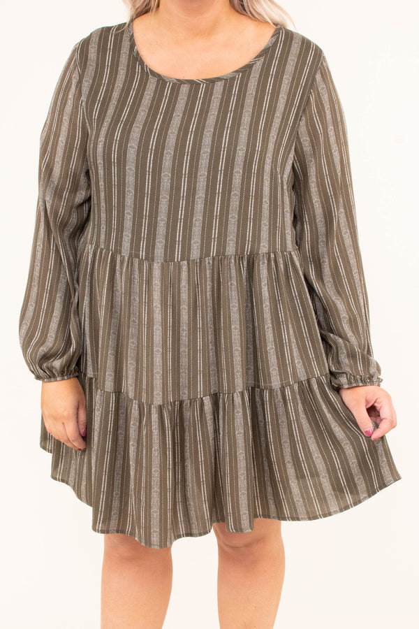 dress, short, long sleeve, bubble sleeves, babydoll, ruffles, olive, white, striped, flowy, keyhole back, fall, winter