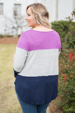shirt, long sleeve, tie front, longer back, magenta, gray, navy, colorblock, comfy, fall, winter