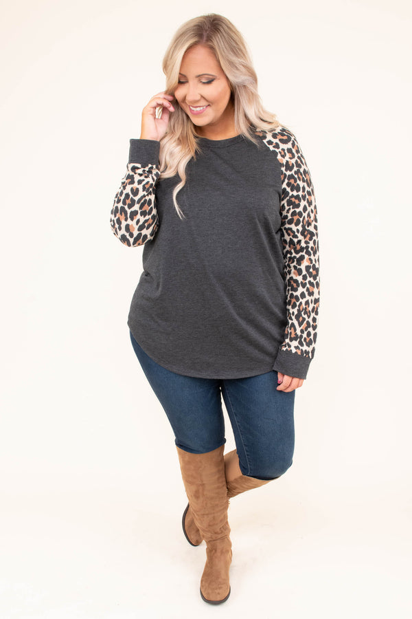 shirt, long sleeve, curved hem, gray, solid, leopard sleeves, comfy, fall, winter