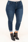 jeggings, dark blue, lightly faded, long, rough hemline