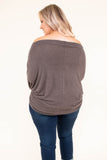shirt, long sleeve, off the shoulder, brown, solid, flowy, curved hem, fall, winter