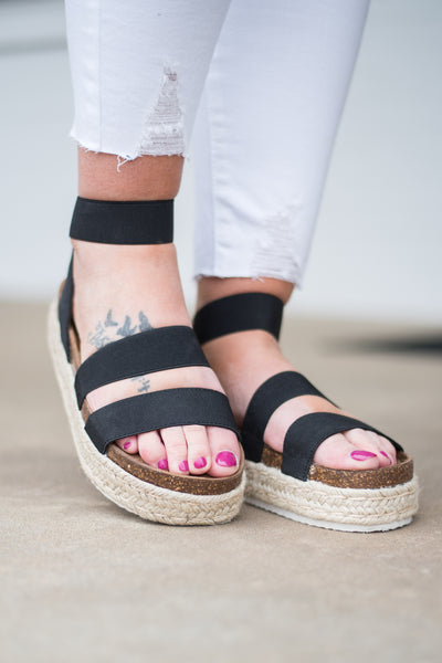 shoes, sandals, wedges, platform, straps, black