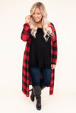 cardigan, long sleeve, floor length, black, red, plaid, flowy, comfy, outerwear, fall, winter