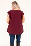 shirt, short sleeve, ruffle sleeves, scoop neck, wine, solid, textured