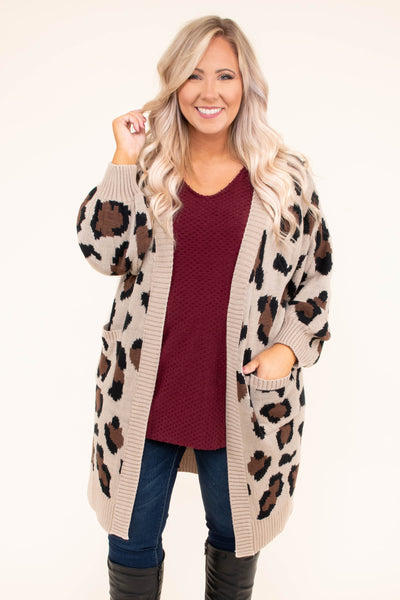 cardigan, long sleeve, pockets, long, tan, brown, black, leopard, loose sleeves, comfy, fall, winter, outerwear