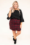 blouse, three quarter sleeves, bell sleeves, short front, longer back, black, solid, comfy