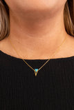 necklace, gold, triangle charm, turquoise charm, dainty, short chain