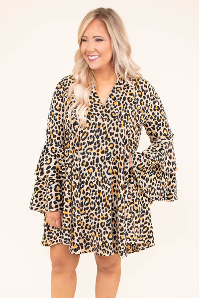 dress, short, long sleeve, vneck, bell sleeves, ruffle sleeves, flowy, tan, brown, yellow, leopard, fall, winter