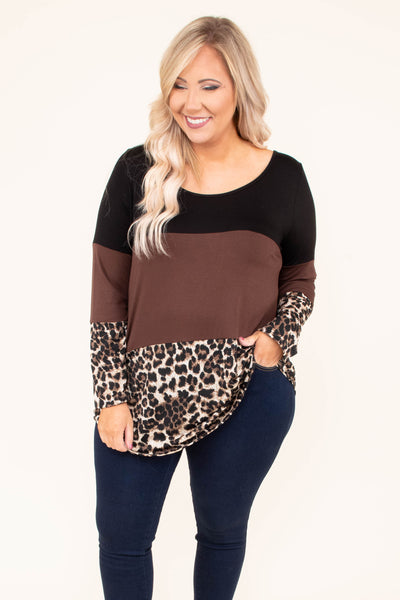 shirt, long sleeve, scoop neck, black, brown, leopard, colorblock, curved hem, lace back detail, comfy, fall, winter