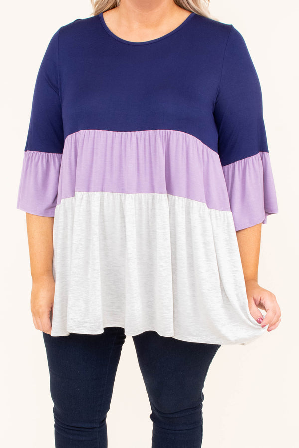 shirt, three quarter sleeve, navy, lavender, white, colorblock, ruffle sleeves, flowy, comfy