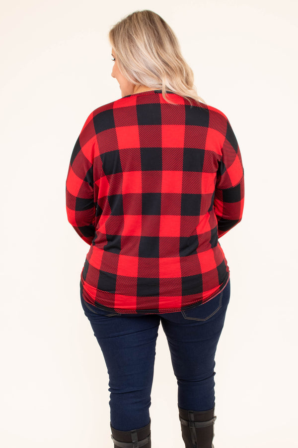 shirt, long sleeve, vneck, button down, tie front, fitted, black, red, plaid, comfy, fall, winter