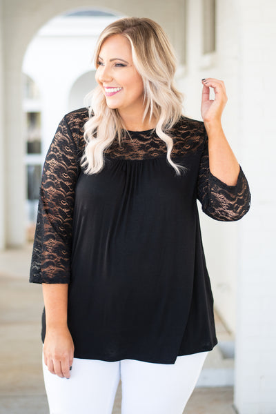 top, black, round neck, three quarter sleeves, lace detail, solid, fall, winter