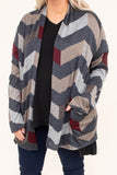 cardigan, long sleeve, elbow patches, pockets, gray, tan, burgundy, chevron, comfy, fall, winter