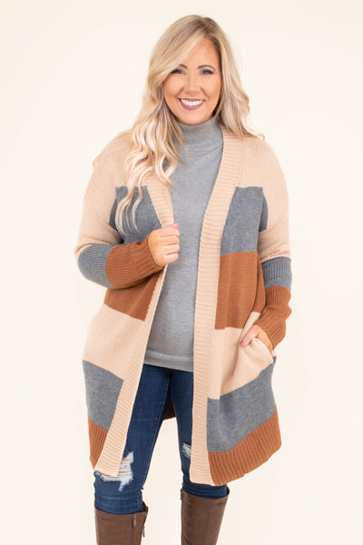 cardigan, long sleeve, long, tan, gray, orange, striped, pockets, comfy, fall, winter