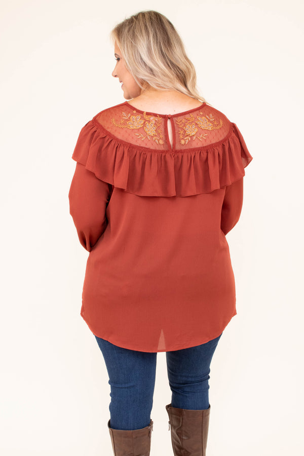 shirt, long sleeve, bubble sleeve, ruffled chest, embroidered neckline, rust, solid, fall, winter