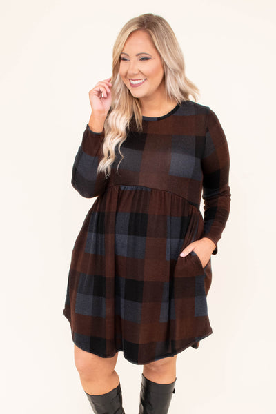 dress, short, long sleeve, curved hem, babydoll, pockets, brown, gray, black, plaid, flowy, comfy, fall, winter