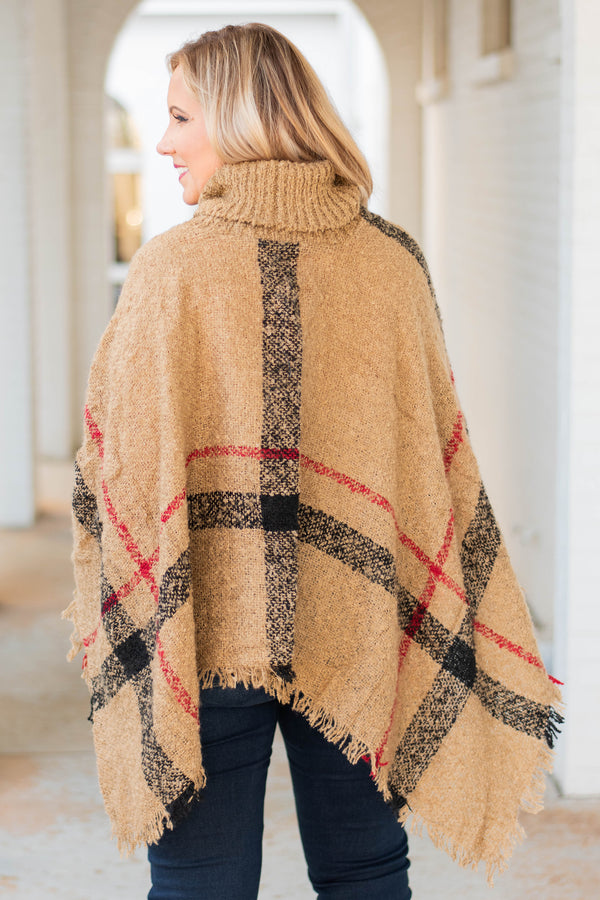 poncho, long sleeve, fringe, turtleneck, asymmetrical hem, flowy, tan, black, red, plaid, outerwear, comfy, fall, winter