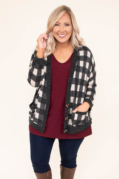 cardigan, long sleeve, short, buttons, pockets, black, white, plaid, black hems, comfy, fall, winter