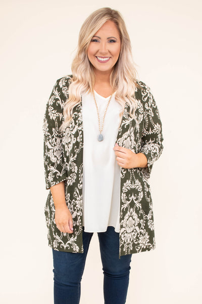 cardigan, three quarter sleeve, long, loose sleeves, olive, tan, victorian print, comfy