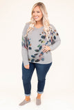 shirt, long sleeve, vneck, fitted, gray, feathers, multicolor, criss cross back, comfy, fall, winter