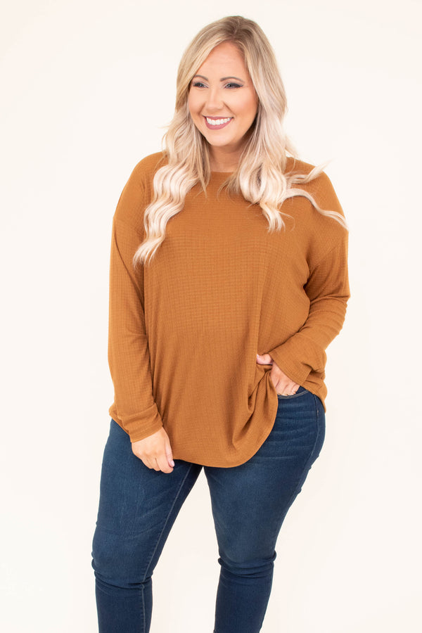 shirt, long sleeve, curved hem, longer back, camel, solid, knit, comfy, fall, winter