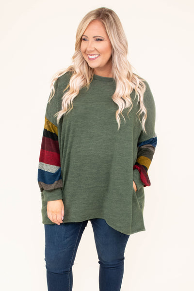 shirt, long sleeve, olive, striped sleeves, yellow, black, red, gray, blue, brown, flowy, pockets, soft