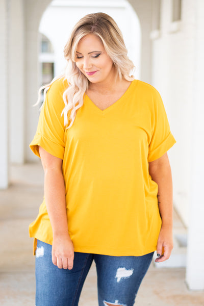 shirt, short sleeve, vneck, side slits, flowy, yellow, solid, comfy, cuffed sleeve