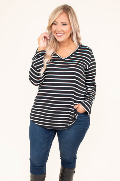 shirt, long sleeve, vneck, curved hem, black, white, striped, loose, comfy, fall, winter