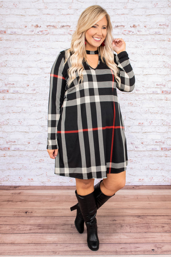 dress, short, long sleeve, vneck cutout, black, white, red, plaid, pockets, flowy, fall, winter