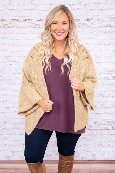 cardigan, three quarter sleeve, loose sleeve, tan, solid, thick knit, comfy, flowy, fall, winter