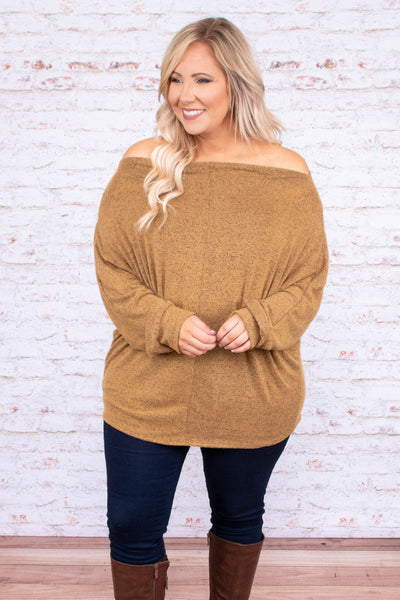 shirt, long sleeve, off the shoulder, mustard, solid, loose, flowy, comfy, cozy, fall, winter