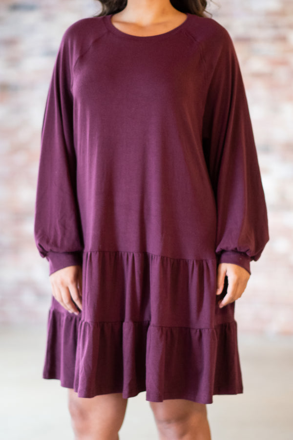 dress, short, long sleeve, bubble sleeves, flowy, ruffles, wine, solid, comfy, fall, winter
