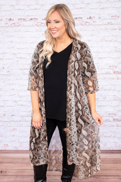 kimono, three quarter sleeve, shin length, sheer, flowy, brown, snakeskin, outerwear