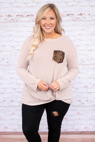 shirt, long sleeve, taupe, solid, glitter pocket, twisted hemline, fall, winter