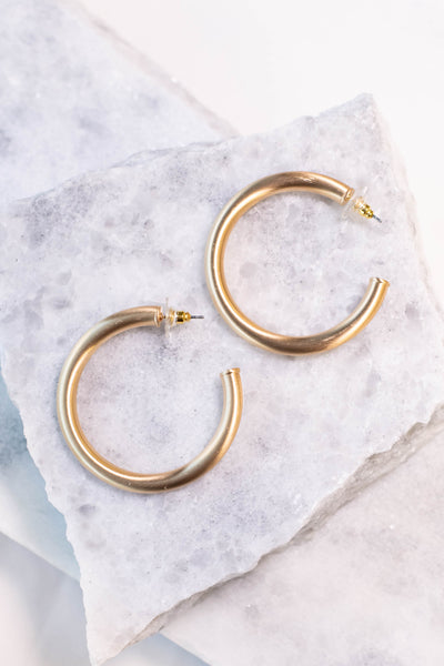 earrings, hoops, gold, thick, brushed finish