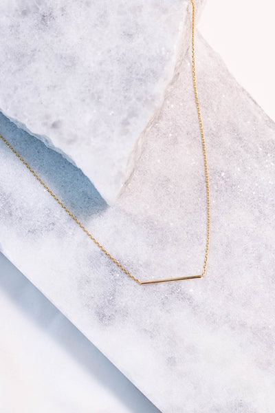 necklace, gold, thin bar, dainty
