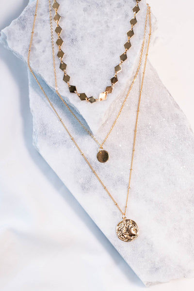 necklace, layered, diamond chain, circle pendant, coin pendant, gold