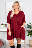dress, short, short sleeve, vneck, babydoll, button down, pockets, black, red, plaid, flowy, fall